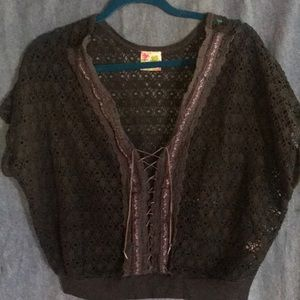 Free people lace up mesh top